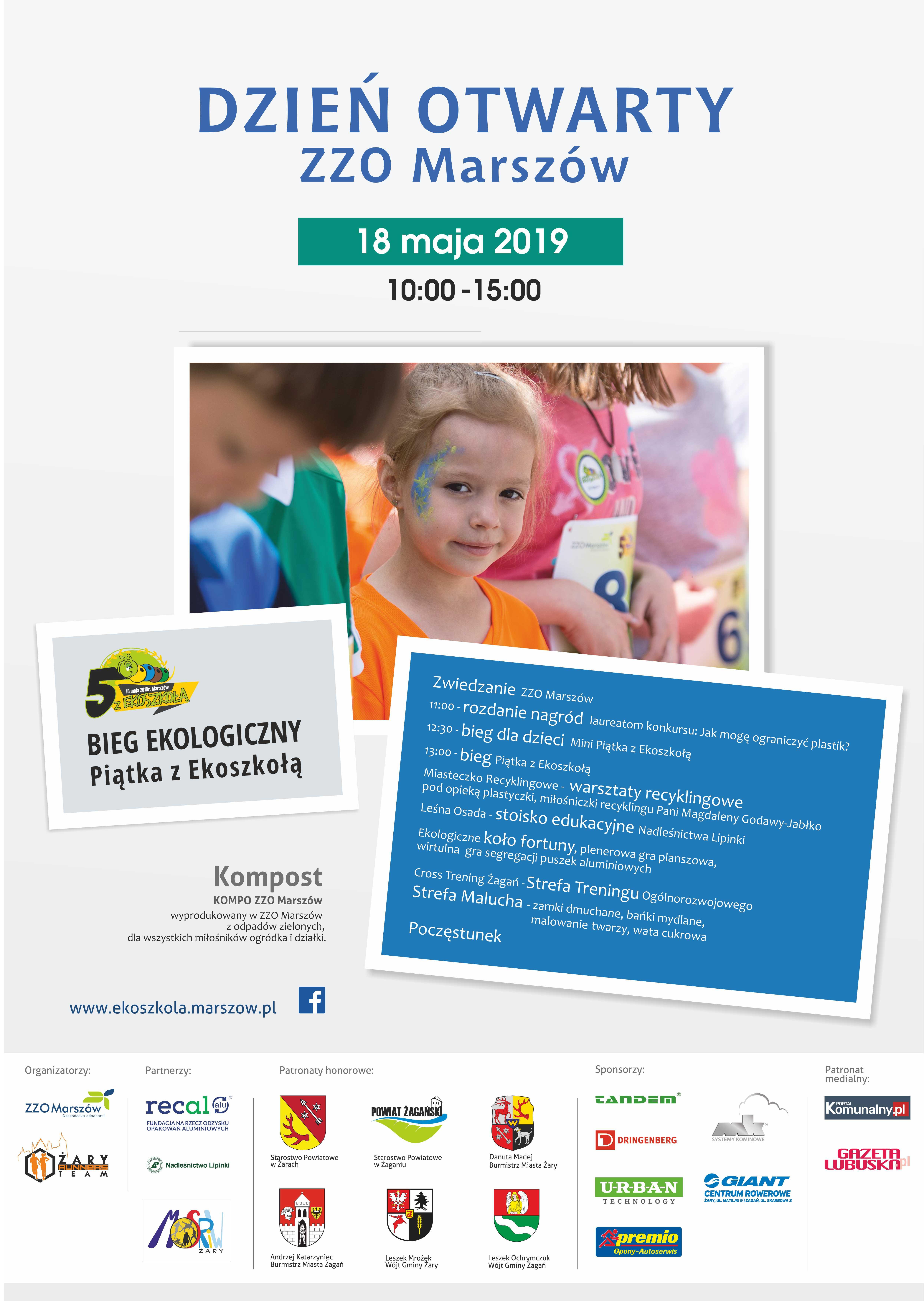 """Ilustracja do informacji: Dzień Otwarty ZZO Marszów i II biegu ekologicznego """"Piątka z Ekoszkołą"""" w dniu 18 maja 2019 r."""