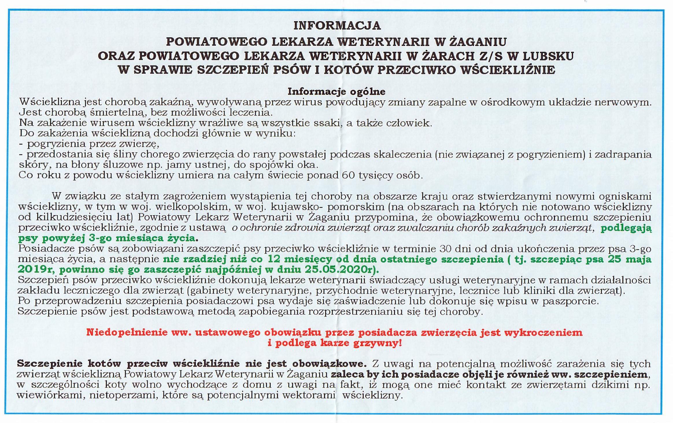 Ilustracja do informacji: Informacja o szczepieniu przeciwko wściekliźnie