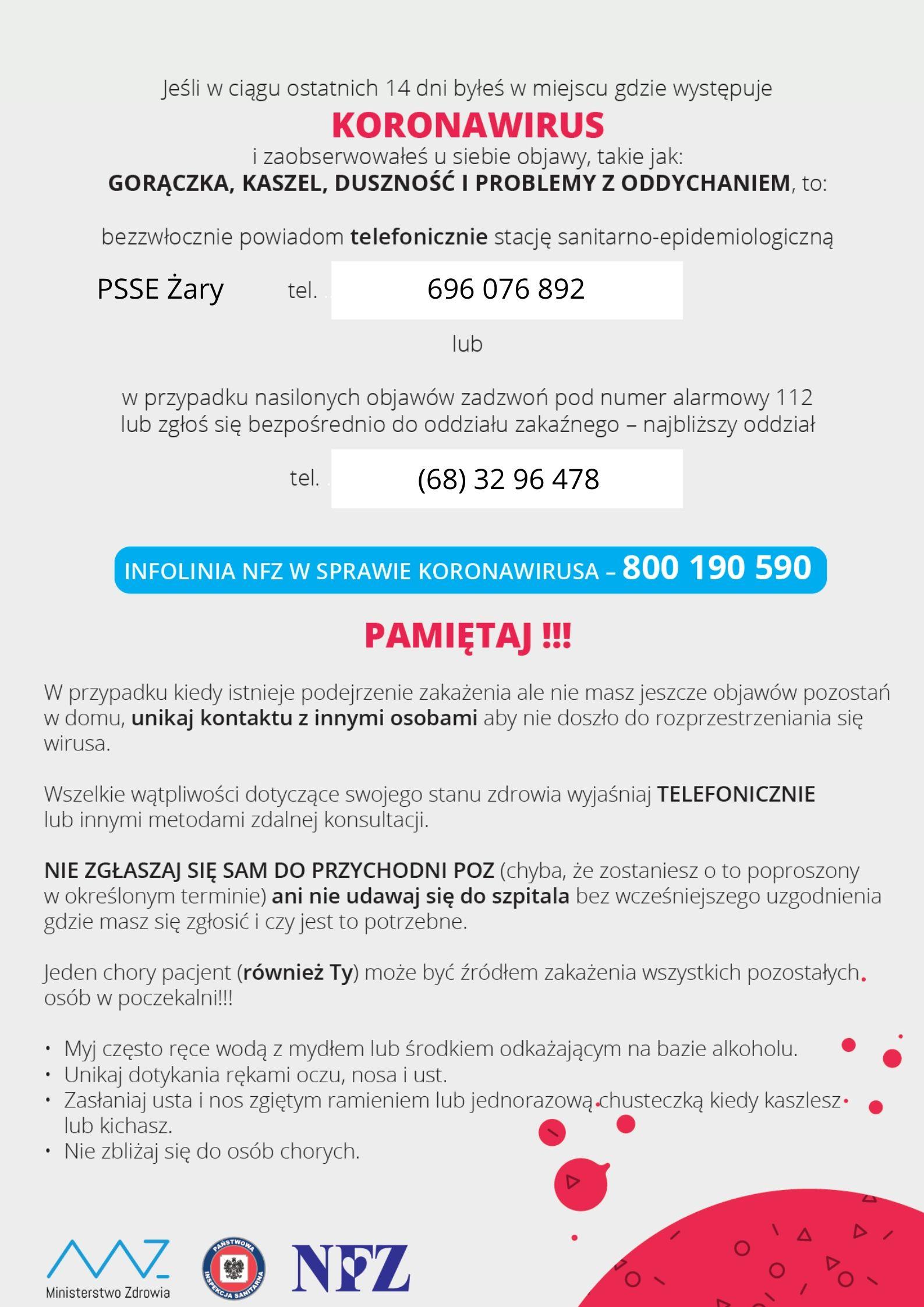Ilustracja do informacji:  Koronawirus - plakat informacyjny